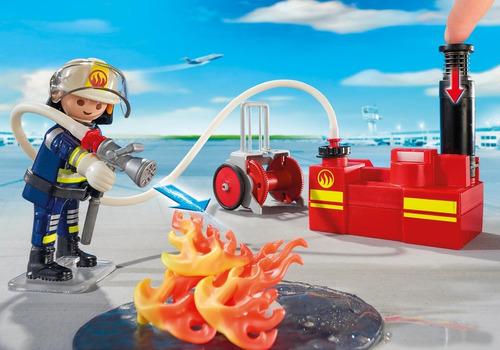 playmobil 5397 city action equipe bombeiros com bomba d'água