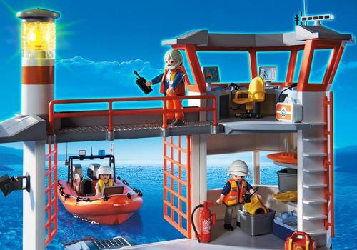 playmobil 5539 estação guarda costeira com farol city action
