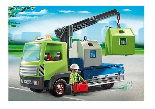 playmobil 6109 caminhão de reciclagem de vidro city action