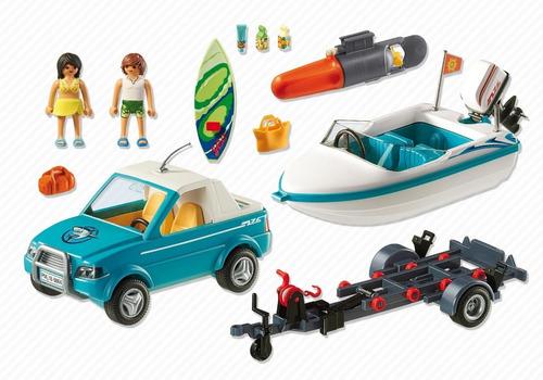 playmobil 6864 summer pick-up con lancha y motor orig intek