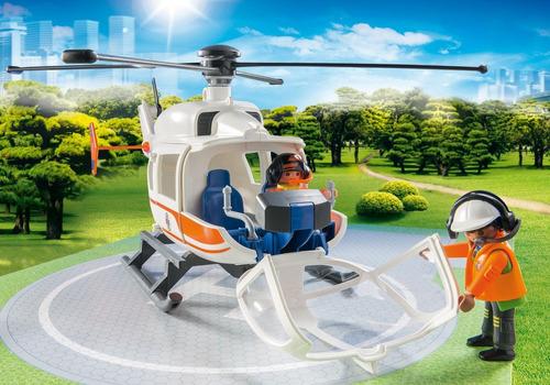 playmobil 70048 helicóptero de resgate city life geobra