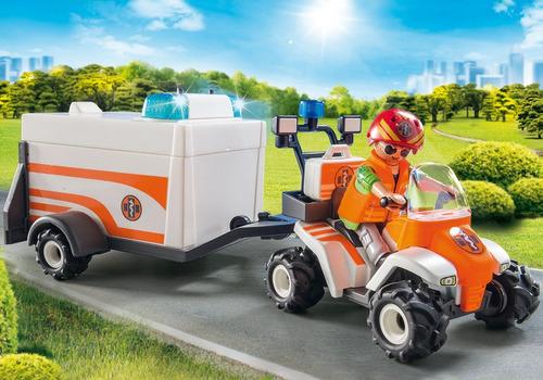 playmobil 70053 quadriciclo de resgate com reboque city life