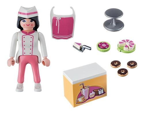playmobil 9097 chef com balcão e bolos special plus geobra