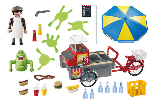 playmobil 9222 slimer con stand de hot dog