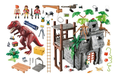 playmobil 9429 t-rex e acampamento the explorers geobra