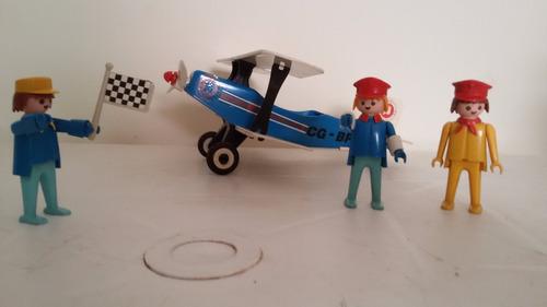 playmobil avião + 3 bonecos - antigos dos anos 70/80