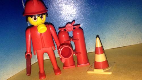 playmobil bombero rojo vintage con equipo de rescate b