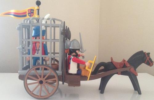 playmobil cavaleiros - cavaleiros com prisioneiro - 3674