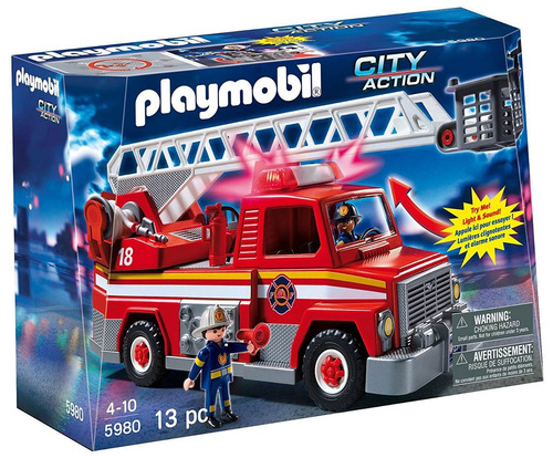 playmobil city action camion de bomberos con escalera 5980