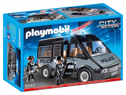 playmobil city action van furgon de policia con muñecos tv