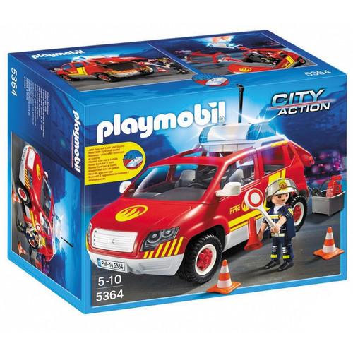 playmobil coche jefe de bomberos auto con luces y sonido