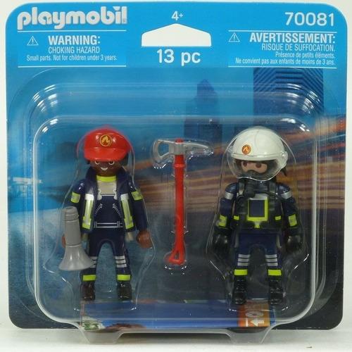 playmobil duo pack 70081 bomberos con equipo figura acc edu