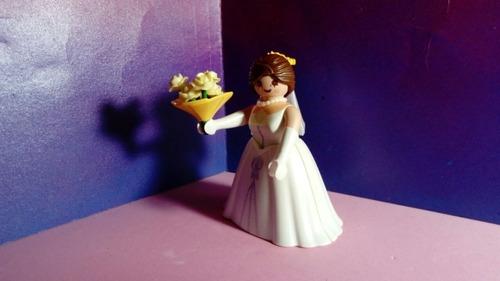 playmobil figure serie 3 novia de boda con flores rara js! b