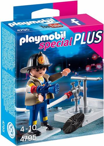 playmobil individual bombero con equipo original