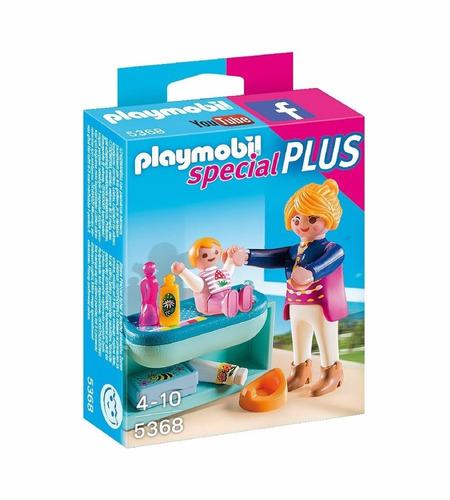 playmobil individual mama con niña y cambiador original