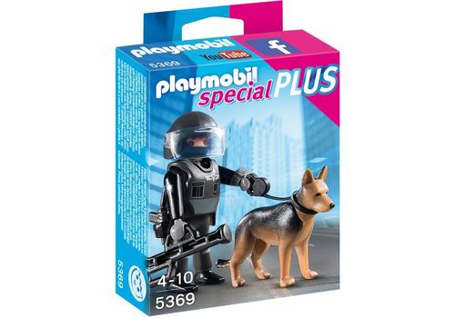 playmobil individual policia tactica con perro original