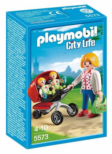 playmobil mama con carrito de gemelos 5573 city life edu