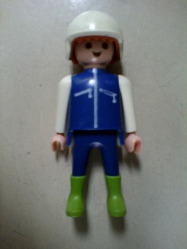 playmobil muñeco geobra 1992 traje azul y casco play mobil