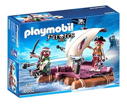 playmobil piratas balsa con cañon 6682 original scarlet kids