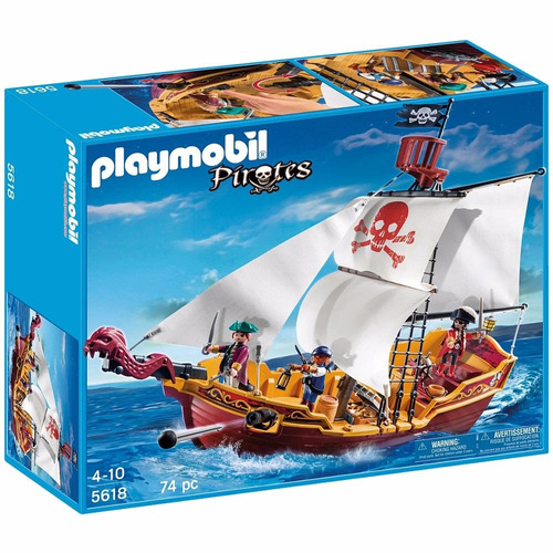 playmobil piratas barco pirata serpiente roja original tv
