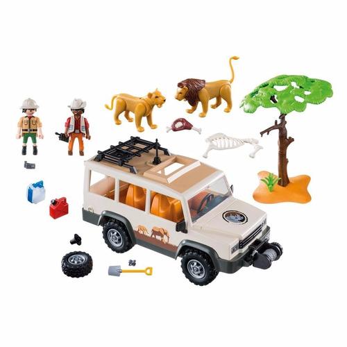 playmobil vehiculo camioneta safari con leones original
