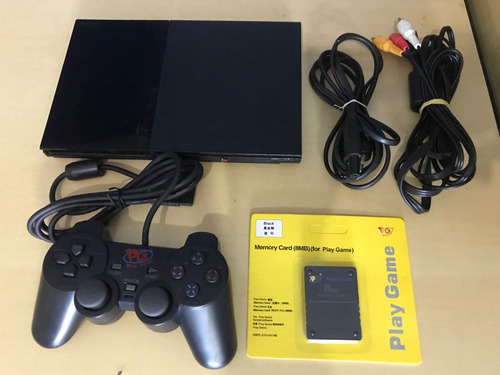 playstation 2 + 1 controle +1 memory card + 3 jogos brindes