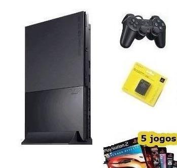 playstation 2 + 1 controle +1 memory card + 5 jogos brindes
