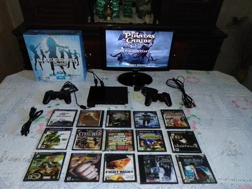 playstation 2 chipeado con una gran variedad de accesorios