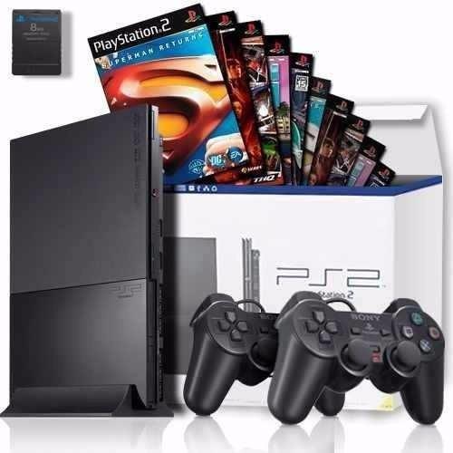 playstation 2 destravado+ 2 controles+ memorycard + 20 jogos