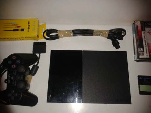 playstation 2 slim + cables + memory card