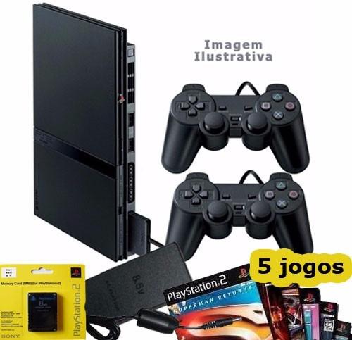 playstation 2 usado - destravado - 2 controles - 5 jogos