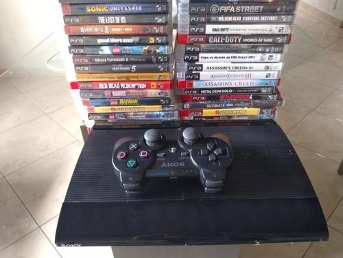 playstation 3 ,2 controles , jogos , cabos