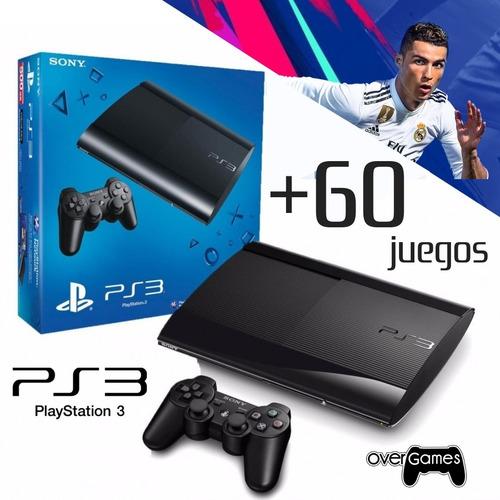 playstation 3 ps3 rf  + 60 juegos + 2 controles + fifa 19