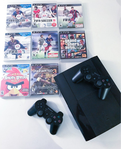 playstation 3 super slim con 2 controles y 8 juegos
