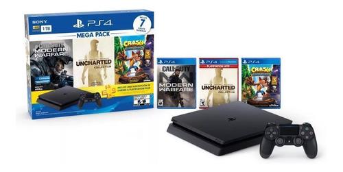 playstation 4 + 2 joy + 7 juegos + fortnite + plus, macrotec