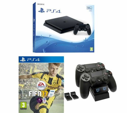 playstation 4 500 gb slim + fifa 17 + 2 joystick orig