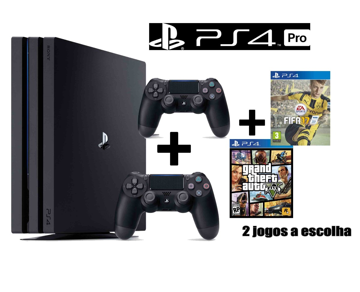 playstation 4 pro 4k 1tb ps4 2 controles 2 jogos a. Black Bedroom Furniture Sets. Home Design Ideas
