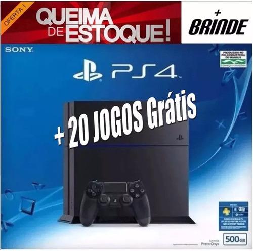 playstation 4 ps4 500gb sony 1215a lacrado + 20 jogos grátis