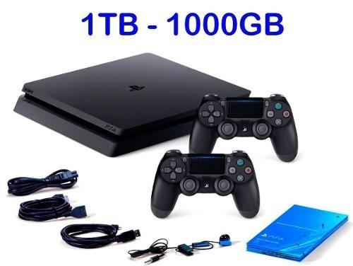 playstation 4 ps4  slim 1 tb + jogo fifa 19 + 2 controles