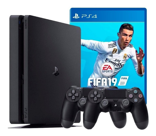 playstation 4 ps4 slim 500 gb + fifa 19 + controle extra