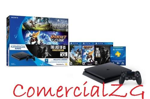 playstation 4 slim 500 gb + 3 juegos | nuevas | comercialzg