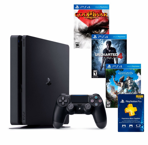 playstation 4 slim disco 500gb 3 juegos fisicos+ plus 3meses