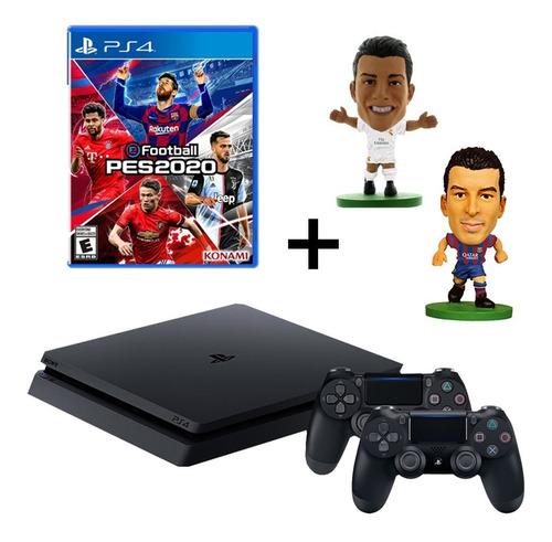playstation - consola ps4 1tb + mando + pes 2020 + 2 muñecos