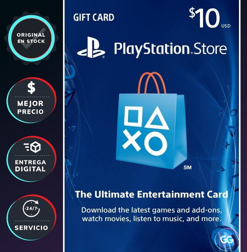playstation network psn tarjeta gift card 10 dólares usa