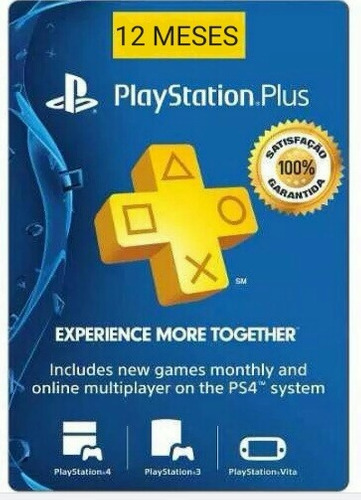 playstation plus / 1 ano, 12meses/ envio imediato / ps4, ps3