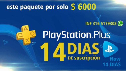 playstation plus 14 días y playstation now por solo 6000peso