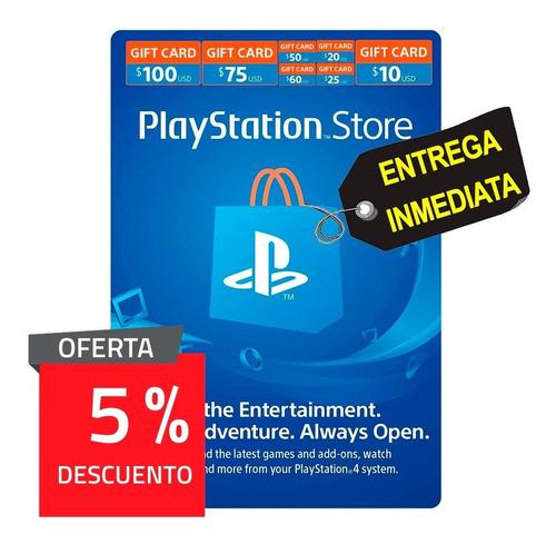 playstation store tarjeta de regalo con 5% de descuento