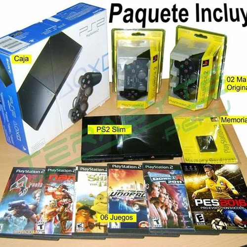 playstation2,2 mandos,6 juegos,memoria envio gratis