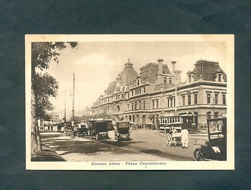 plaza constitucion  . antigua tarjeta postal .
