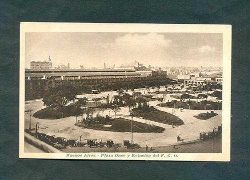plaza once y estacion f.c.o. . antigua tarjeta postal .
